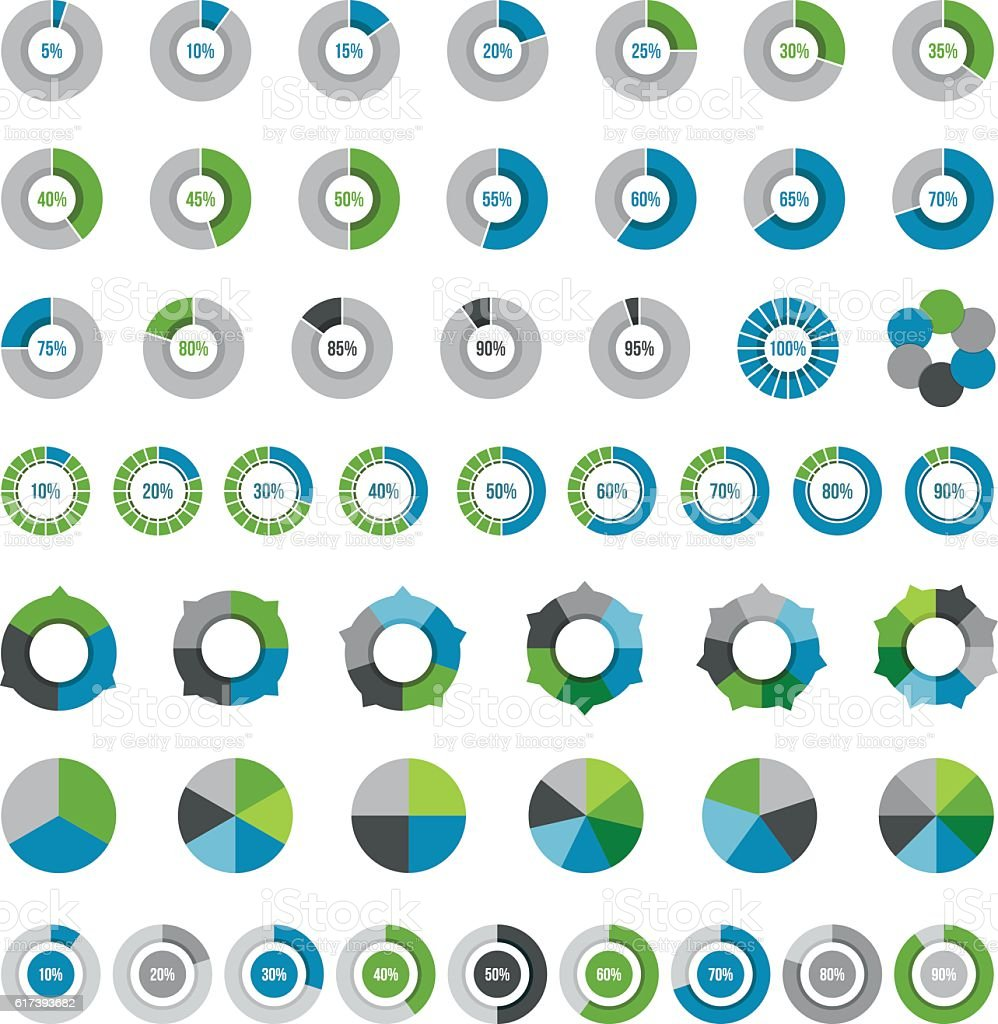 Pie Charts Elements vector art illustration