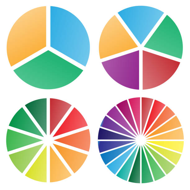 Pie charts group isolated vector illustration Pie chart group vector graphic with modern soft bold gradient colors, nice spacing between slices, perfect for business presentations, isolated for easy editing pie chart stock illustrations