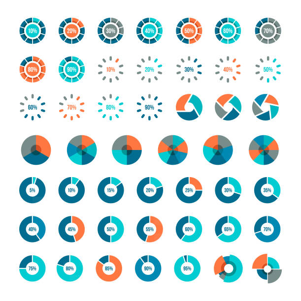 Pie Charts vector art illustration