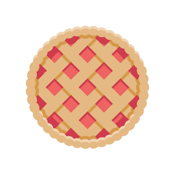 Pie Flat Design Dessert Icon A flat design styled dessert icon with a long side shadow. Color swatches are global so it's easy to edit and change the colors. File is built in the CMYK color space for optimal printing. pastry dough stock illustrations