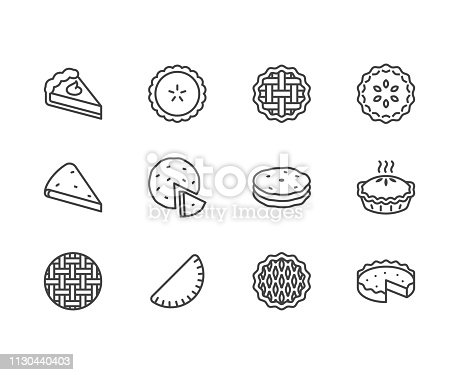 Pie flat line icons set. Ossetian, cherry, apple, pumpkin pies, casserole, pita vector illustrations. Thin signs for bakery. Pixel perfect 64x64. Editable Strokes.