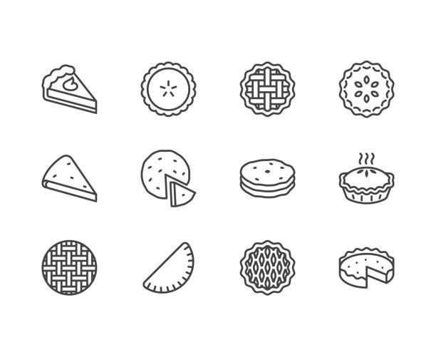 ustawiono ikony płaskiej linii kołowej. osetyjski, wiśnia, jabłko, ciasta dyniowe, zapiekanka, pita wektorowe ilustracje. cienkie znaki do piekarni. pixel doskonały 64x64. edytowalne obrysy - ciasto stock illustrations