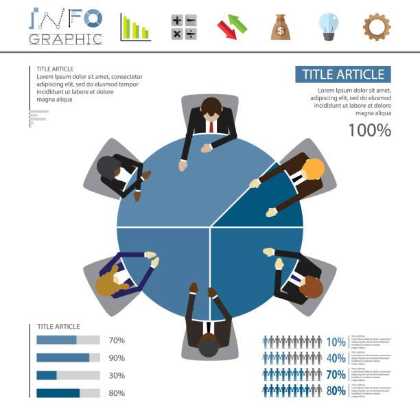 illustrazioni stock, clip art, cartoni animati e icone di tendenza di pie graphic meeting infographic - business meeting, table view from above