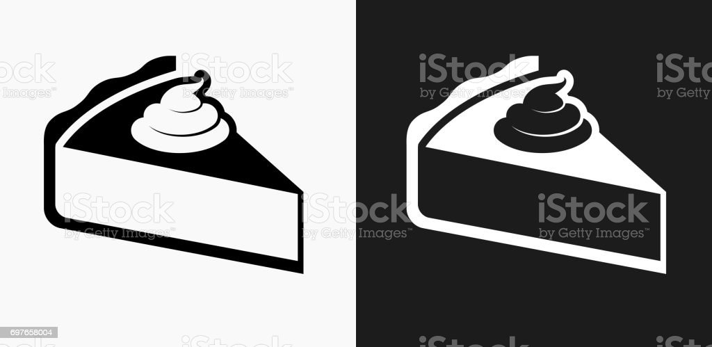 Pie Icon On Black And White Vector Backgrounds Stock