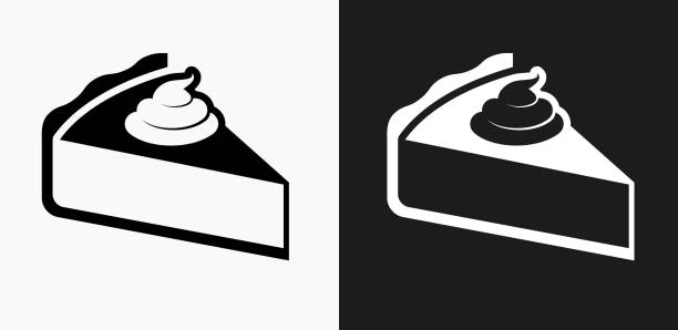 pie icon on black and white vector backgrounds - pie stock illustrations, clip art, cartoons, & icons