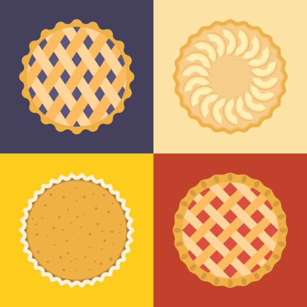 pie icon set - pumpkin pie stock illustrations