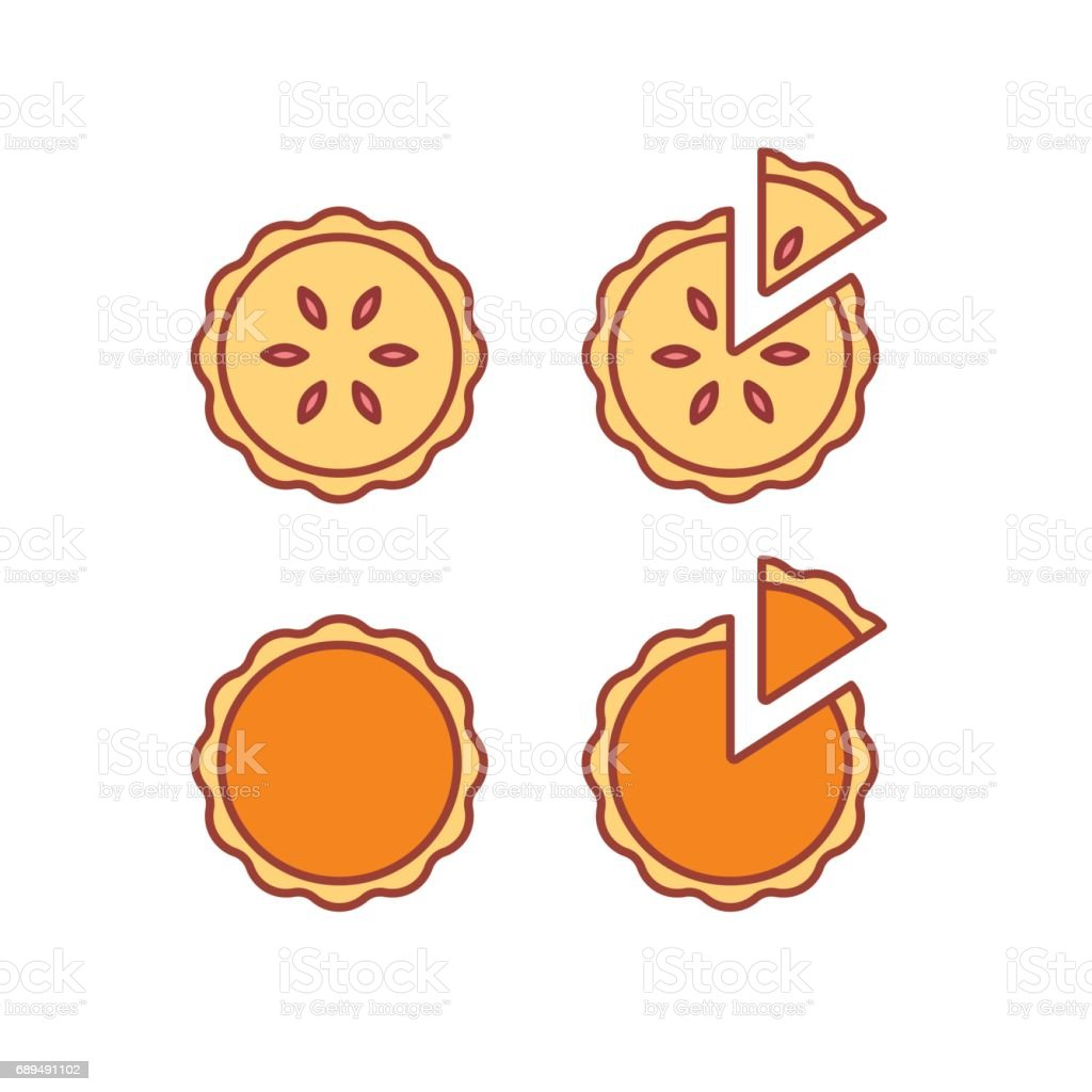 Pie icons set vector art illustration