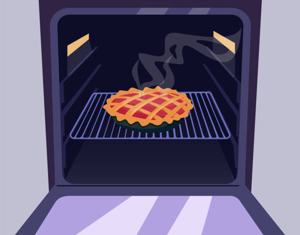 Pie in the oven Pie in the oven oven stock illustrations