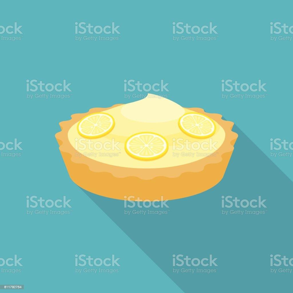 Pie lemon or cheese tart with lemon slice vector art illustration