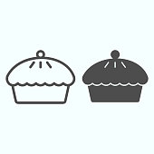 istock Pie line and solid icon. Apple or cherry hot tasty cake. Bakery vector design concept, outline style pictogram on white background, use for web and app. Eps 10. 1205278809