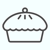 istock Pie line icon. Apple or cherry hot tasty cake. Bakery vector design concept, outline style pictogram on white background, use for web and app. Eps 10. 1205283964