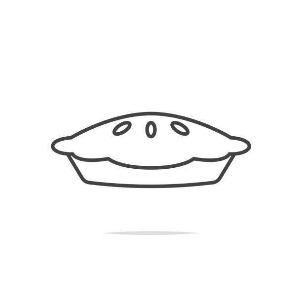 pie line icon vector transparent - nadziewany placek stock illustrations