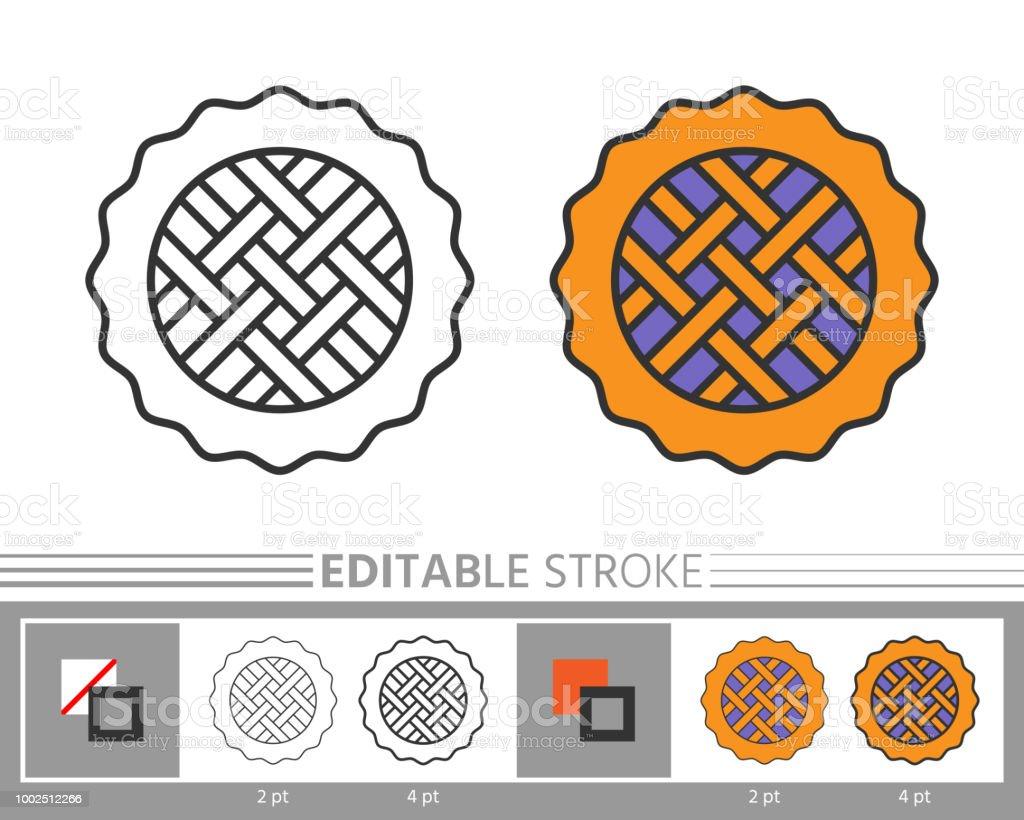 Pasta Doğrusal Simgesini Boyama Sayfası Stok Vektör Sanatı