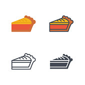 Pie slice thanksgiving holidays icon vector flat icon silhouette line colored