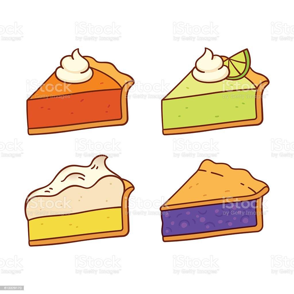 Pie slices set vector art illustration