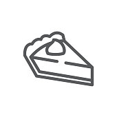 Pie triangular piece pixel perfect icon with editable stroke - sweet baked pastry decorated with cream.
