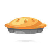 Photo of an hot apple pie cooling on a window ledge.