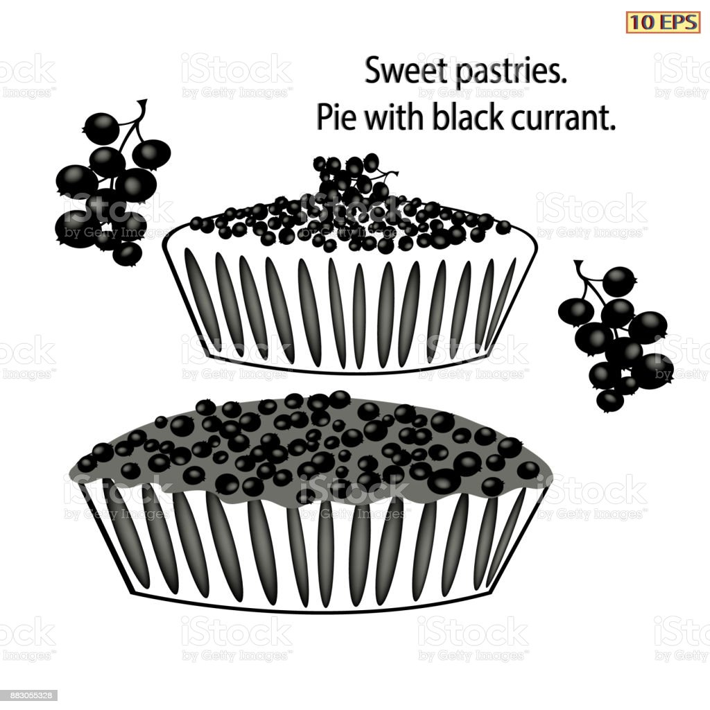 Pie with berries. Black icon. Cake with black currants. Berry pie. Logo pie. Black icon in flat style. Dessert. Bakery, bakery products, pastries. Vector illustration. vector art illustration