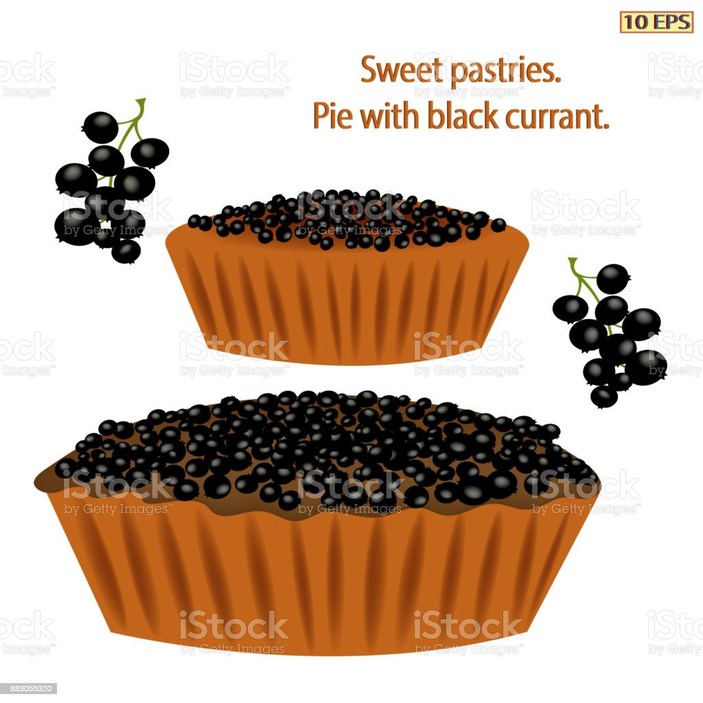 Pie with berries. Cake with black currants. Berry pie. Logo pie. Black icon in flat style. Dessert. Bakery, bakery products, pastries. Vector illustration. vector art illustration