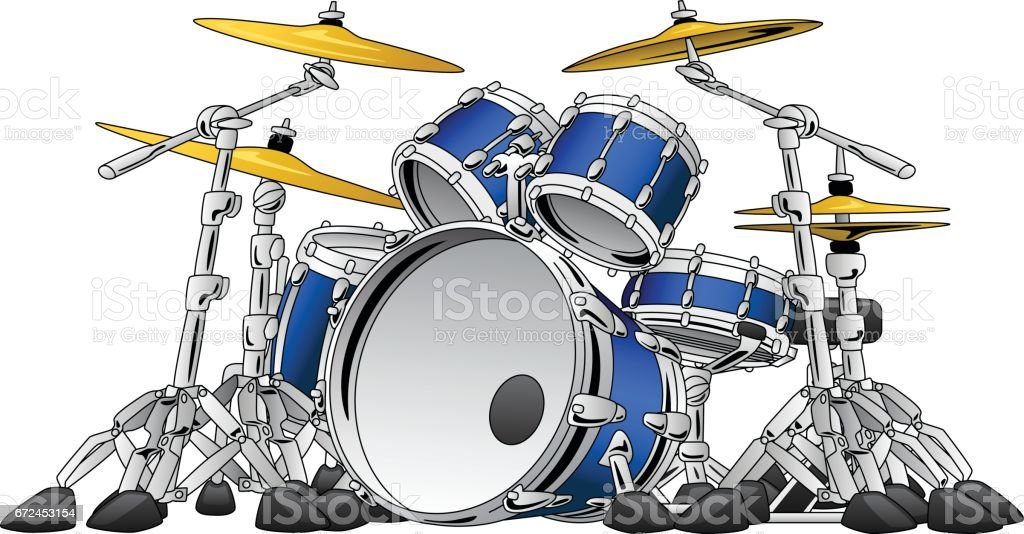 5 Piece Drum Set Musical Instrument Illustration Stock Vector Art ...