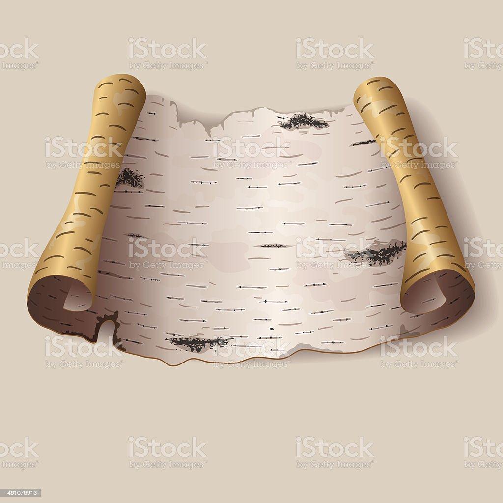 Piece of birch bark vector art illustration