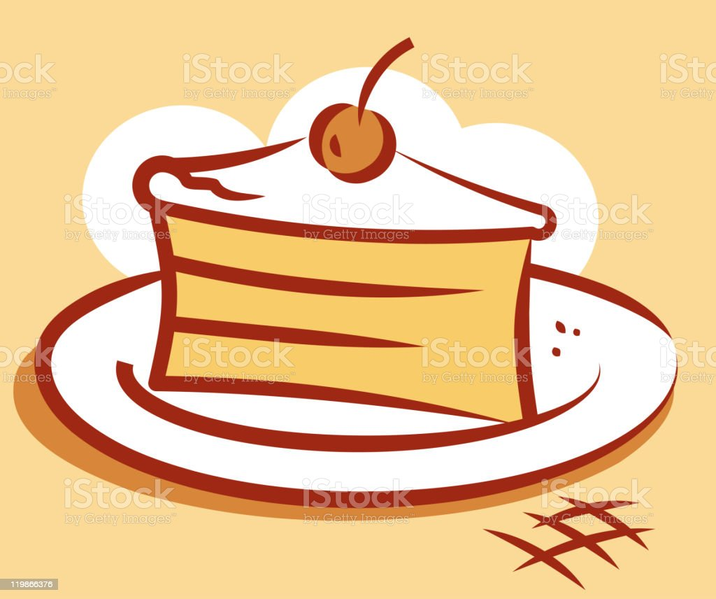 Piece of cake.  Vector illustration royalty-free piece of cake vector illustration stock vector art & more images of baked pastry item