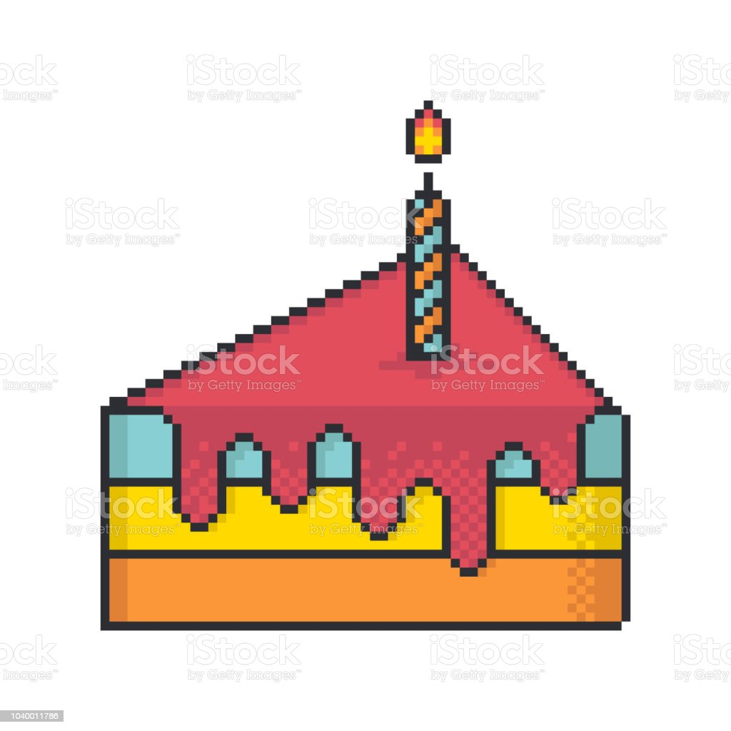 Piece Of Cake With One Candle Pixel Art Style Vector Icon On