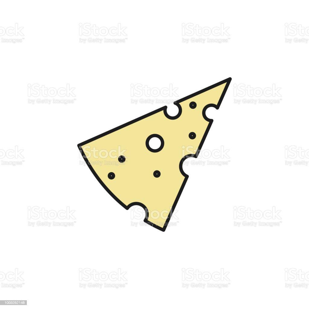 Bir Parça Peynir Renkli Anahat Simgesi Mobil Kavramı Ve Web