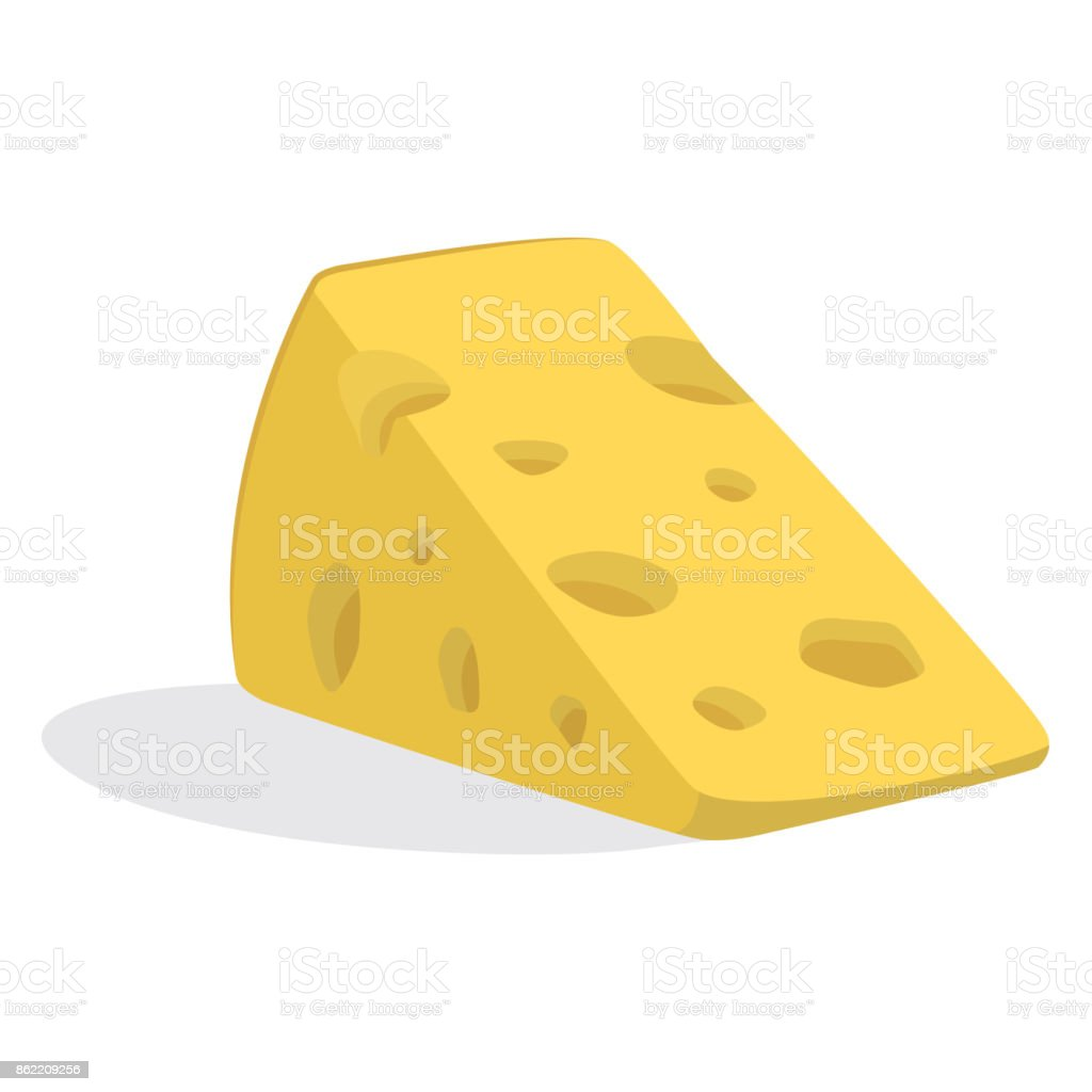 Piece of cheese the triangular matured parmesan.Nutritious food made mostly from the milk of cows. vector art illustration