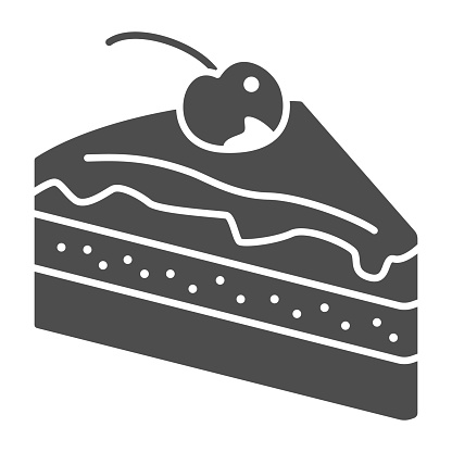 Piece of chocolate cake solid icon, Chocolate festival concept, slice of cake sign on white background, Dessert with chocolate glaze and cherry icon in glyph style. Vector graphics.