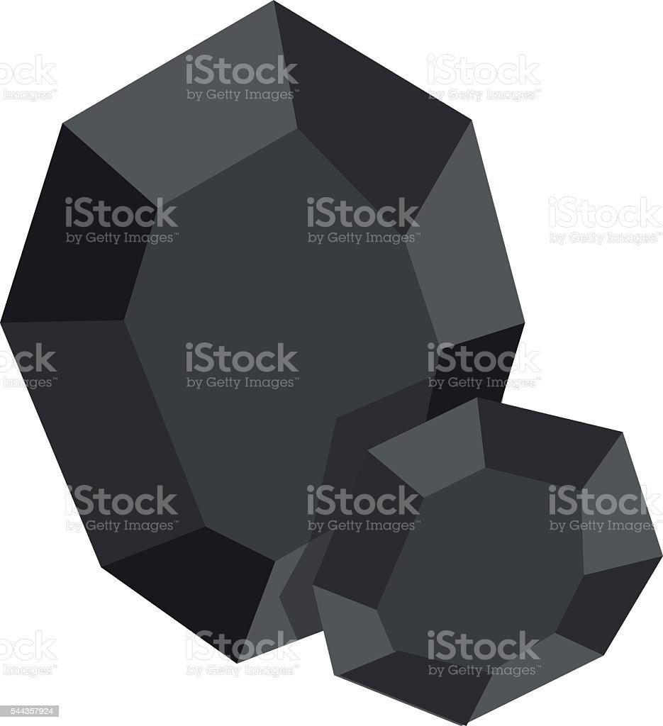 Piece of coal icon. vector art illustration