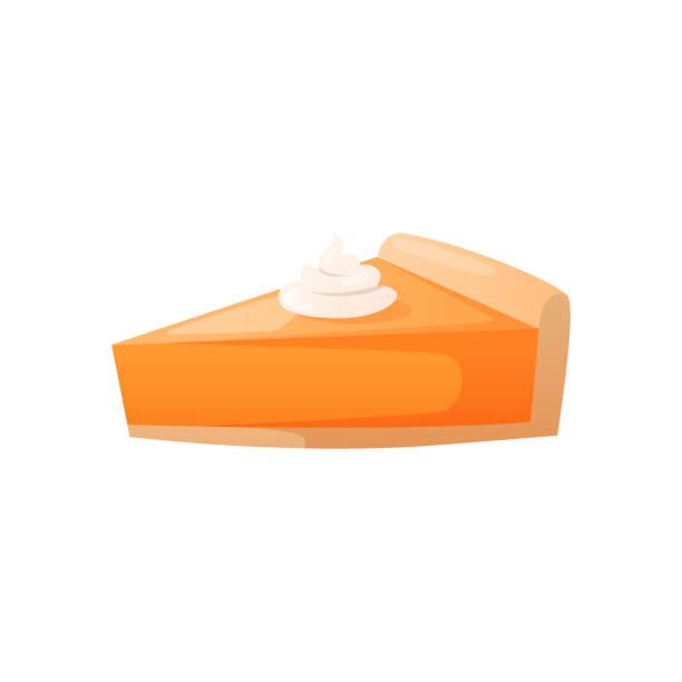 一塊橙色的乳酪蛋糕餡餅與奶油。 - pumpkin pie 幅插畫檔、美工圖案、卡通及圖標