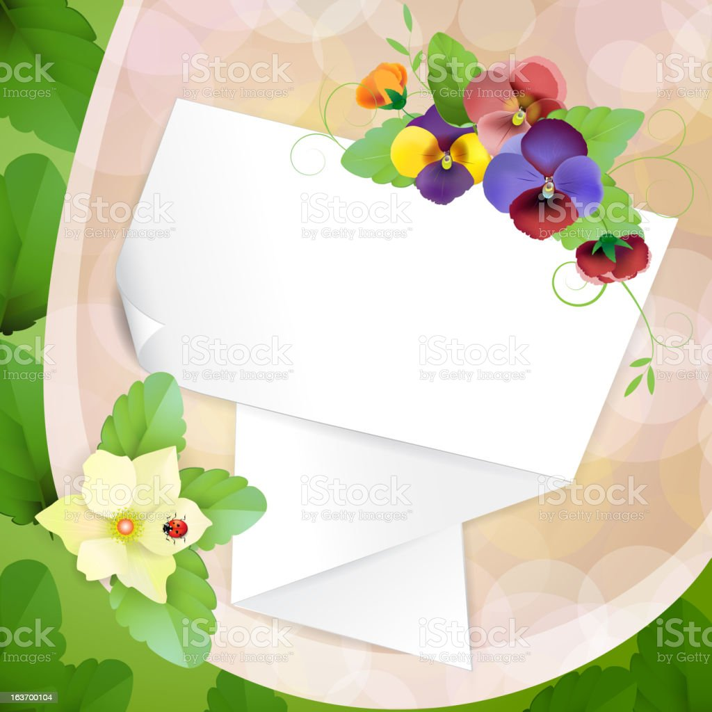 Piece of paper with pansies royalty-free stock vector art