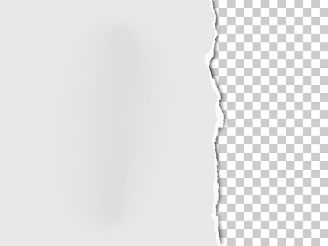 A piece of paper with the torn part on the right side and transparent background under it. Vector template paper design.