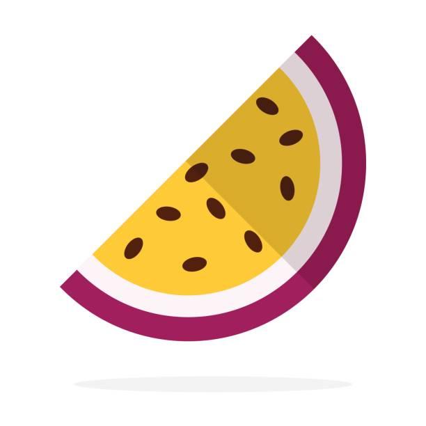 illustrations, cliparts, dessins animés et icônes de un morceau de fruit de la passion plat isolé - fruit de la passion