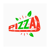 Italian pizza sign. Pizzeria label with slice of pizza. Red and green color icon. Italian food symbol