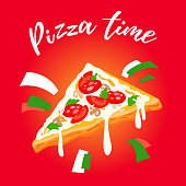 Piece of pizza vector illustration, Italian pizza Festival template for invitation, cafe, bar menu, web, mobile, logo, infographics, postcards, T-shirt, banner, poster, promotion, advertising signboard