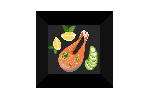 A piece of salmon fish with lemon and cucumbers on a plate