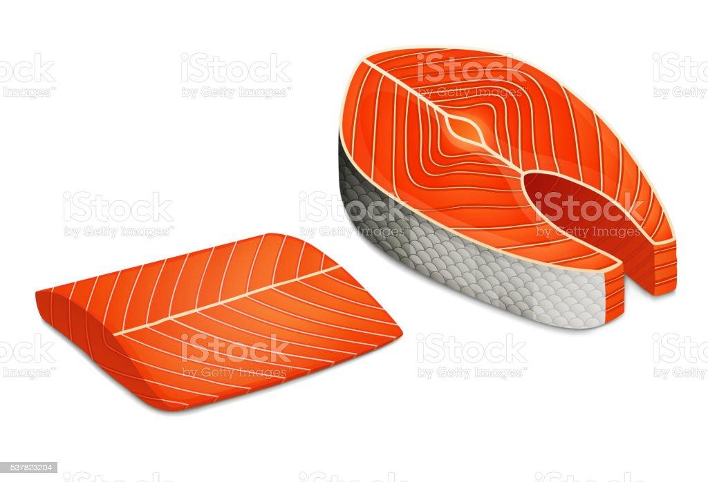 Piece of salmon steak, Fillet of red fish. vector art illustration