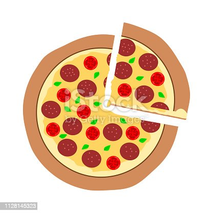 piece of sliced pepperoni pizza, hot melt mozzarella cheese on top isolated on white background; vector illustration