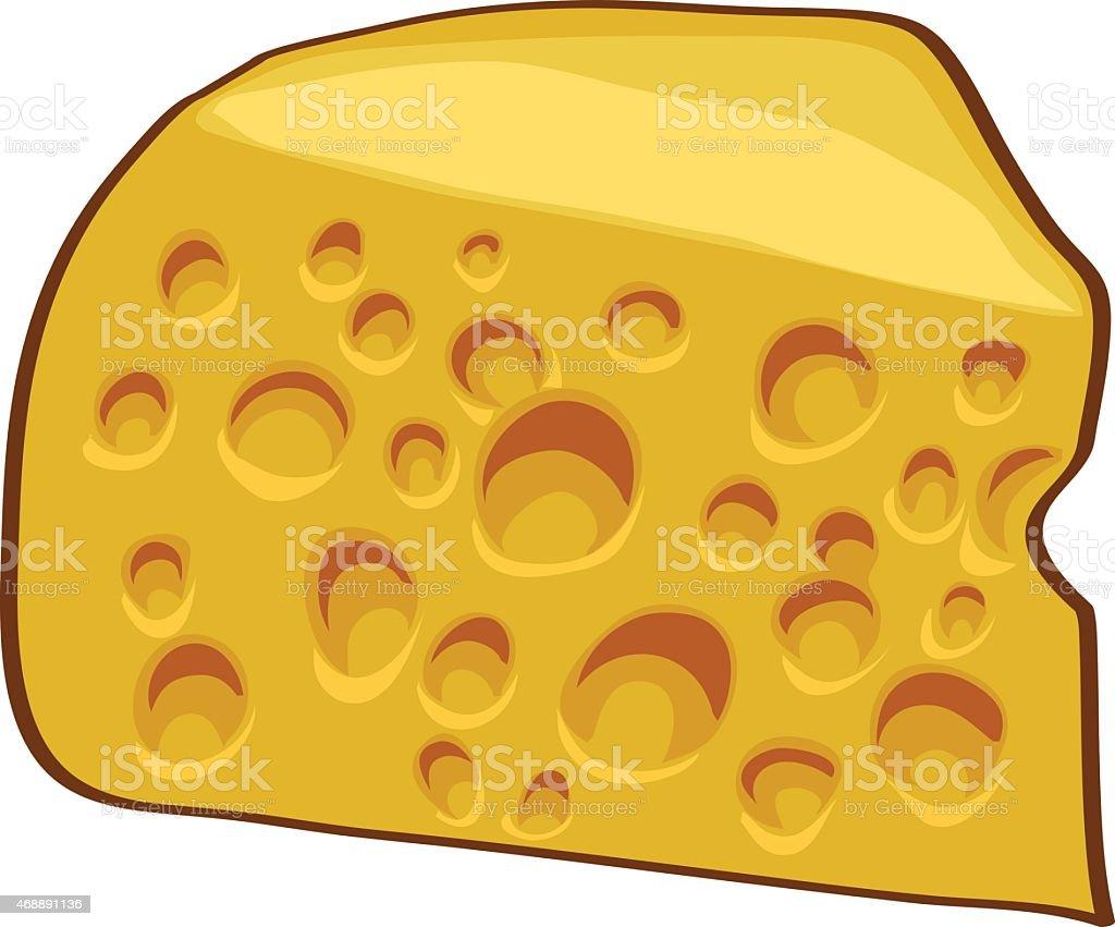 Piece of swiss cheese, simple vector illustration. vector art illustration