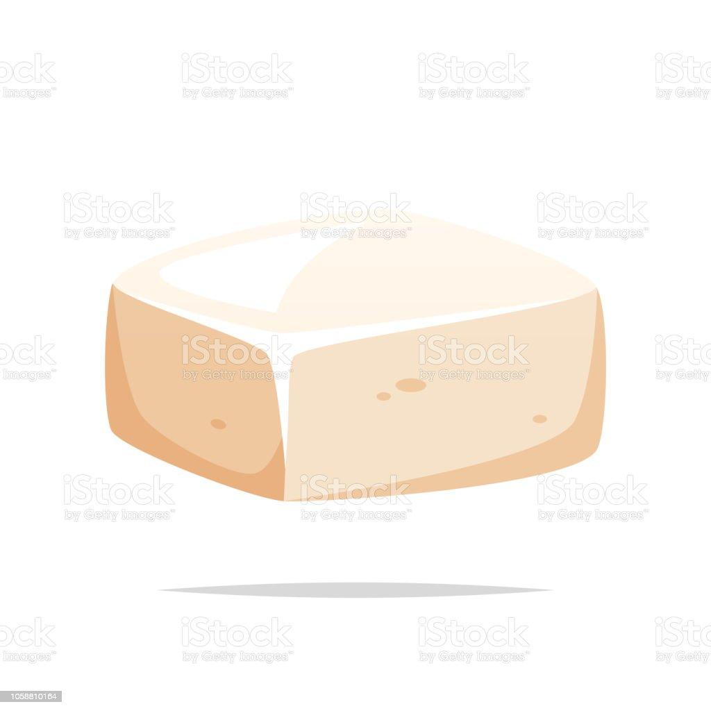 Stuk van tofu vector geïsoleerd - Royalty-free Afbeelding vectorkunst