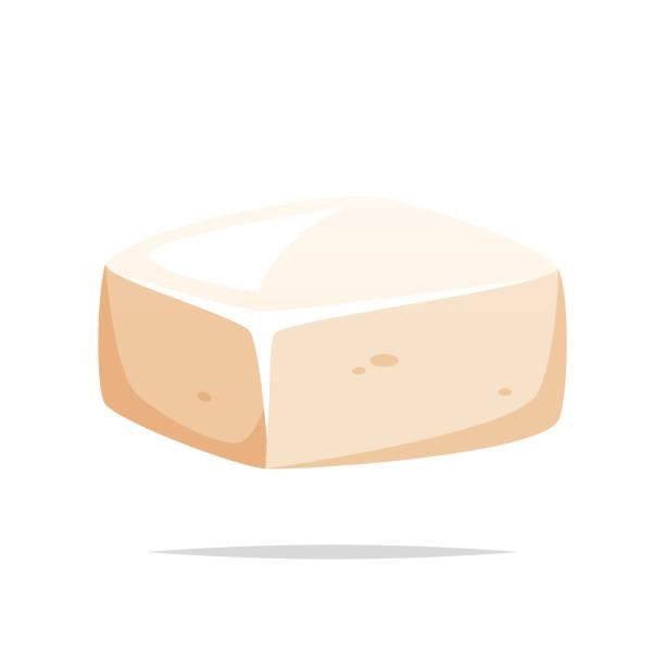 stockillustraties, clipart, cartoons en iconen met stuk van tofu vector geïsoleerd - tofoe