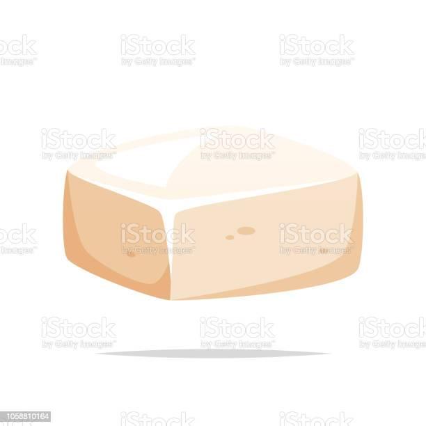 Stuk Van Tofu Vector Geïsoleerd Stockvectorkunst en meer beelden van Afbeelding