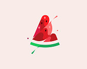 A piece of watermelon vector colorful modern minimal style illustration. Creative icon logo splash concept explosion with drops. Fresh berry fruit vector logo emblem symbol logotype