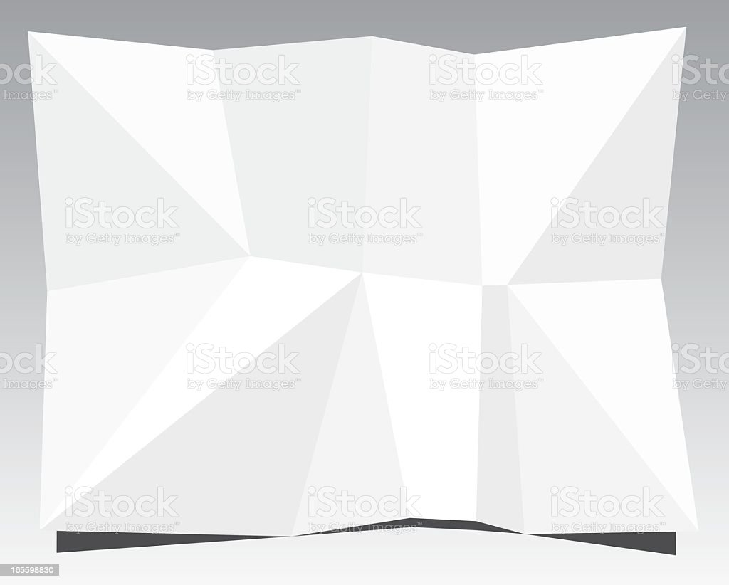 Piece of white wrinkled paper on a grey background vector art illustration