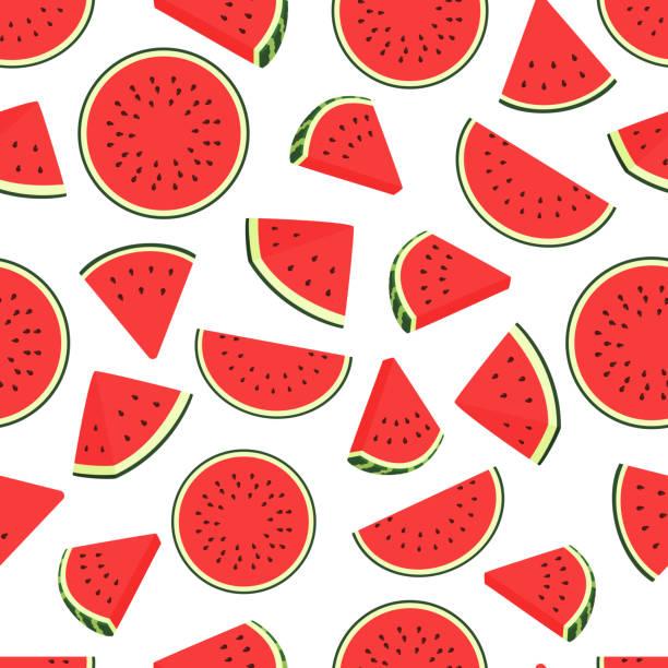 stück wassermelone muster. nahtlose wassermelonen durchsichtiges muster. vector hintergrund mit wassermelonenscheiben - zeichensetzung stock-grafiken, -clipart, -cartoons und -symbole