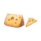 istock Pieces of cheese. Color vintage engraved vector 1309622375