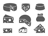 Pieces of cheese icons on white background. Different cheese types in flat style.