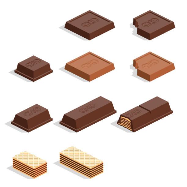 조각 초콜릿 - 초콜릿 stock illustrations